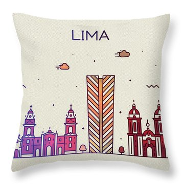 Lima Peru City Skyline Fun Whimsical Series Wide Throw Pillow