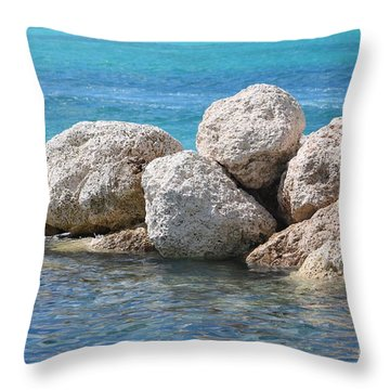 Limestone Boulders In Bahamas Blue Throw Pillow
