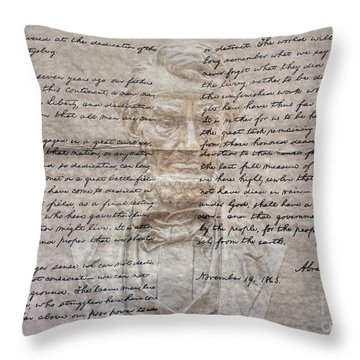 Lincoln And Gettysburg Address Throw Pillow