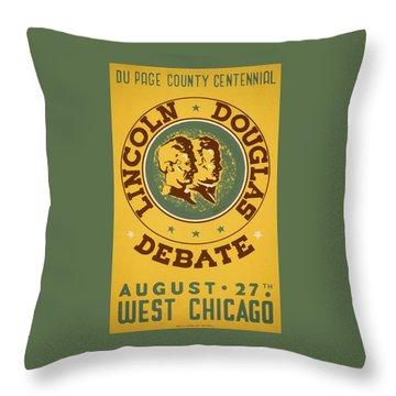Lincoln Douglas Debate - Wpa - 1939 Throw Pillow