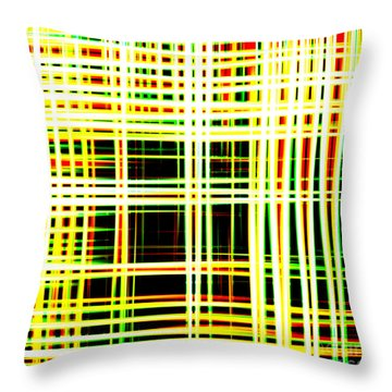 Lines And Squares In Color Waves - Plb418 Throw Pillow