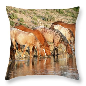 Lineup At The Pond-- Wild Horses Throw Pillow