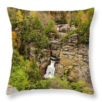 Linville Falls - Wide View Throw Pillow