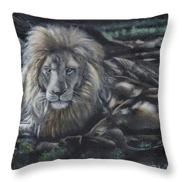 Lion In Dappled Shade Throw Pillow