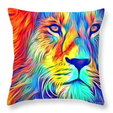 Throw Pillow featuring the mixed media Lion Of Judah by Jessica Eli
