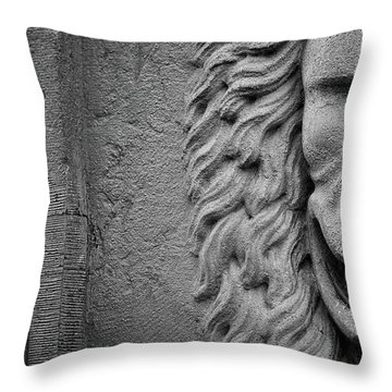 Throw Pillow featuring the photograph Lion Statue Portrait by Nathan Bush