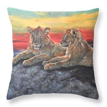 Lion Sunset Throw Pillow