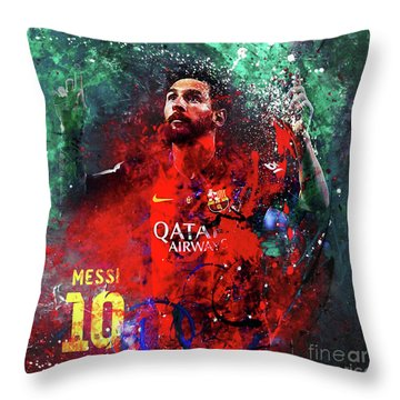 Lionel Messi In Barcelona Kit Throw Pillow