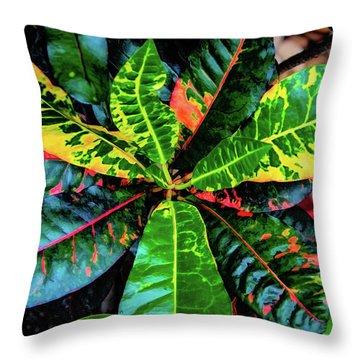 Liquid Tropical Colors Throw Pillow