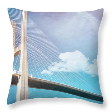 Lisbon Portugal Vasco Da Gama Bridge Throw Pillow