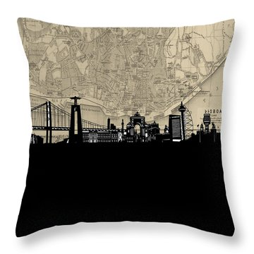 Lisbon Skyline Map Throw Pillow