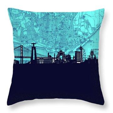 Lisbon Skyline Map Turquoise Throw Pillow