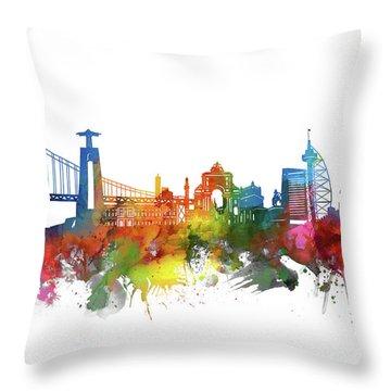 Lisbon Skyline Watercolor 2 Throw Pillow