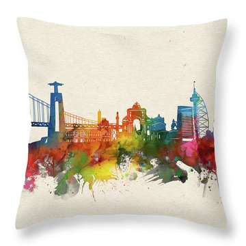 Lisbon Skyline Watercolor Throw Pillow
