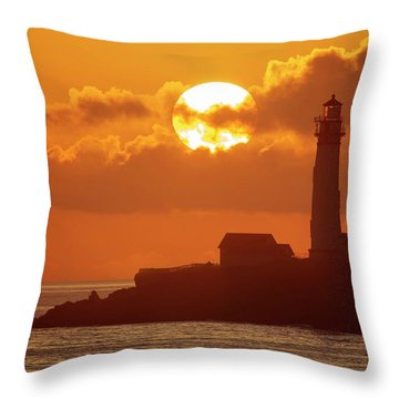 Throw Pillow featuring the photograph Listen To The Sound Of Waves And Seagulls by Quality HDR Photography