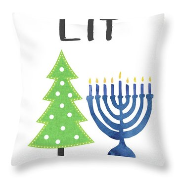 Lit Christmas And Hanukkah- Art By Linda Woods Throw Pillow