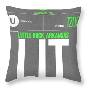 Lit Little Rock Luggage Tag II Throw Pillow