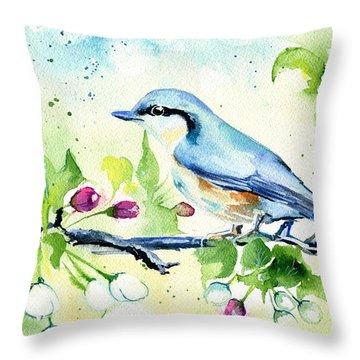 Little Blue Spring Bird Throw Pillow