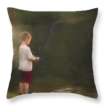 Little Boy Fishing Throw Pillow