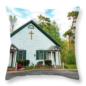 Throw Pillow featuring the photograph Little Church In The Pines by Kristia Adams