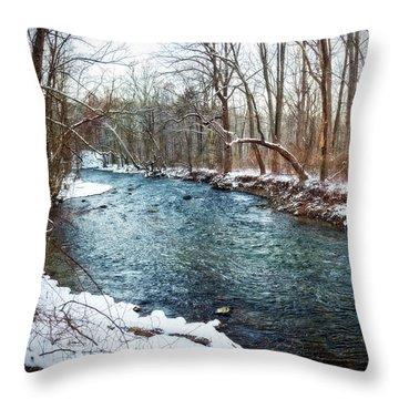 Little Gunpowder Falls Pano Snow Throw Pillow