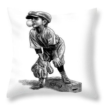 Little Leaguer Throw Pillow