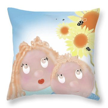 Little Ms And Bro Throw Pillow