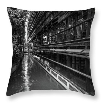 Little River, Big Building Throw Pillow