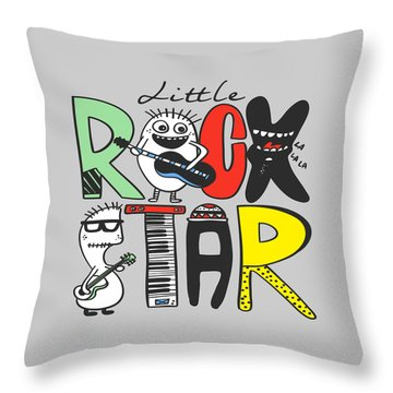 Little Rock Star - Baby Room Nursery Art Poster Print Throw Pillow