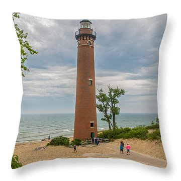 Little Sable Point Lighthouse Throw Pillow
