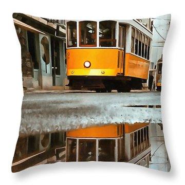 Little Yellow Trolley Throw Pillow