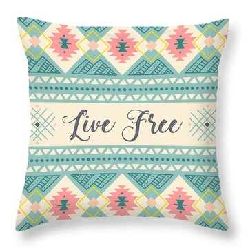 Live Free - Boho Chic Ethnic Nursery Art Poster Print Throw Pillow
