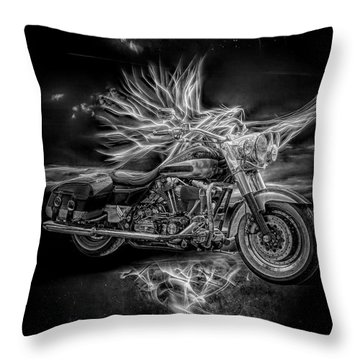 Live To Ride, Ride To Live Black And White Throw Pillow