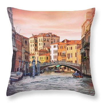 Living On Water  Scenes Of Venice Italy  Throw Pillow