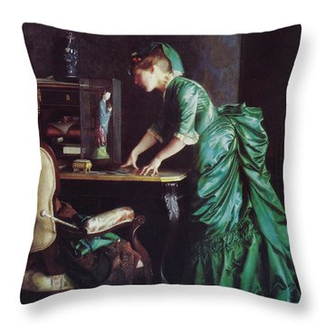 Lizzy Young In Green Throw Pillow
