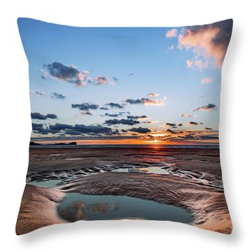Llangennith Beach Throw Pillow