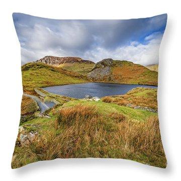 Llyn Y Dywarchen And Boathouse Snowdonia Throw Pillow