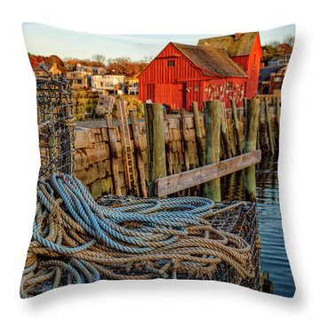 Lobster Traps And Line At Motif #1 Throw Pillow