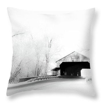Throw Pillow featuring the photograph Lockport Covered Bridge by Michael Arend