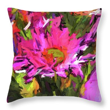 Lolly Pink Daisy Flower Throw Pillow