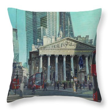 London City Bank Area In Sunny Autumn Throw Pillow