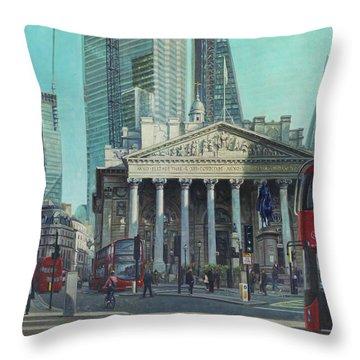 London City Bank Area In Sunny Autumn Throw Pillow