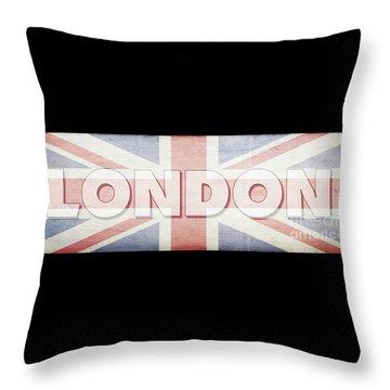 London Faded Flag Design Throw Pillow