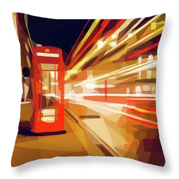 Throw Pillow featuring the digital art London Phone Box by ISAW Company