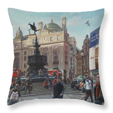 London Piccadilly Circus With Evening Light Throw Pillow