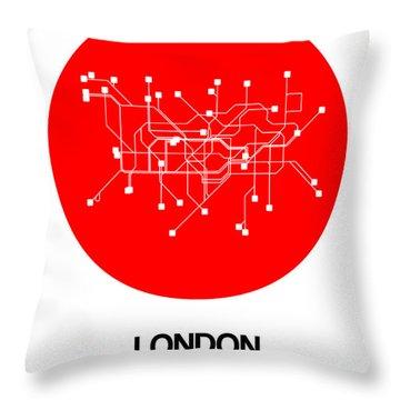 London Red Subway Map Throw Pillow
