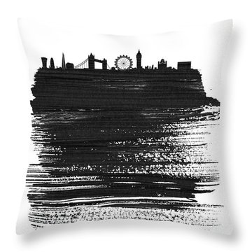 London Skyline Brush Stroke Black Throw Pillow