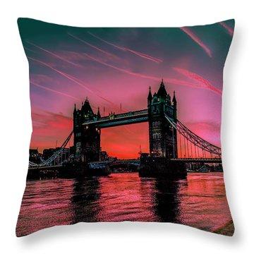 London Tower Bridge Sunrise Pano Throw Pillow