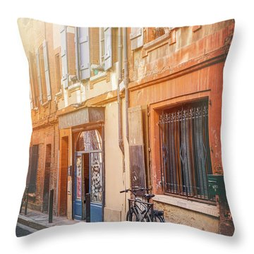 Lone Bicycle In The Early Morning Sun Toulouse France  Throw Pillow