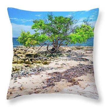 Lone Shore Tree Throw Pillow